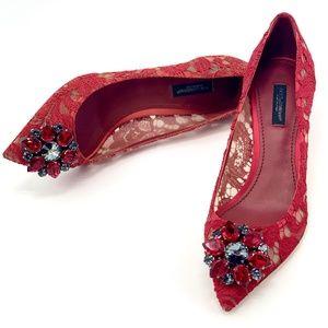 NIB DOLCE & GABBANA Bellucci Red Crystal Pump Heel